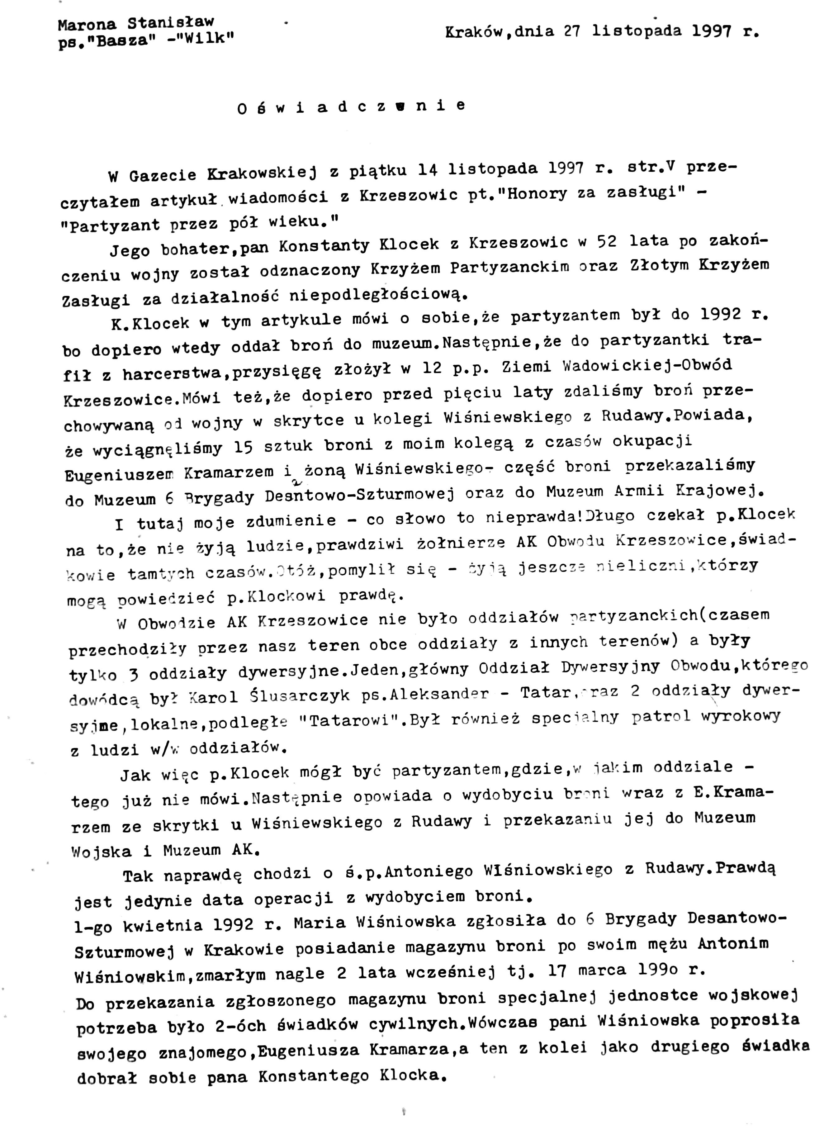 Oświadczenie 1