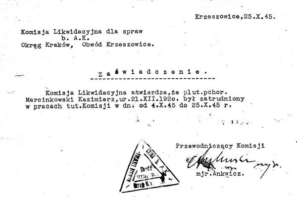 Zaświadczenie Marcinkowski Kazimierz